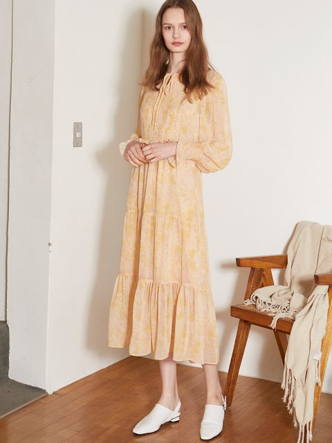 YELLOW PRINTING SHIRRING LONG DRESS