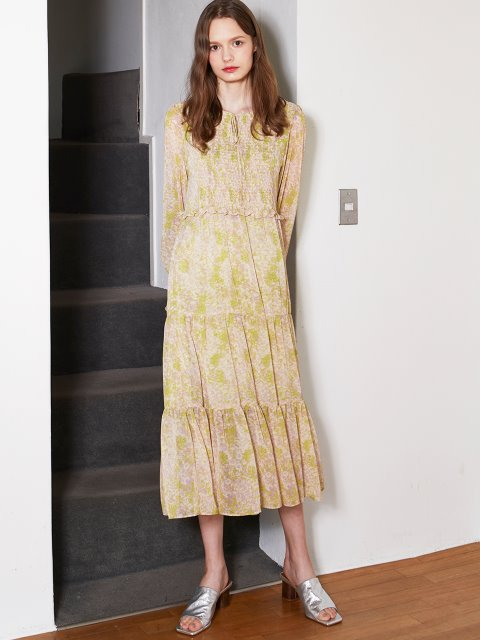 LIGHT GREEN PRINTING SHIRRING LONG DRESS