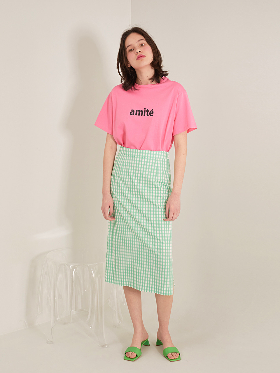 GREEN LEA GINGHAM CHECK SKIRT