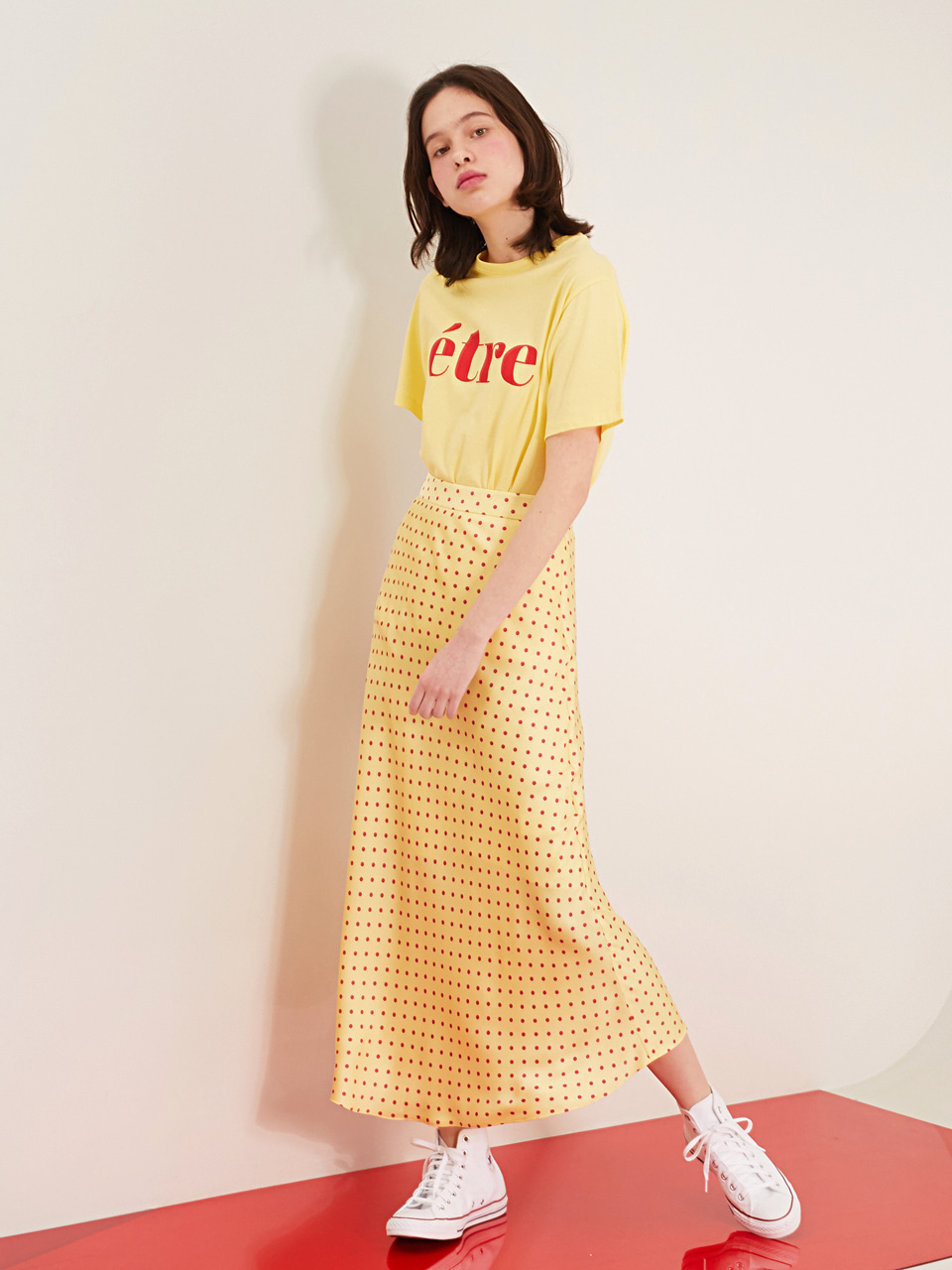 YELLOW JULY DOT SILKY SKIRT